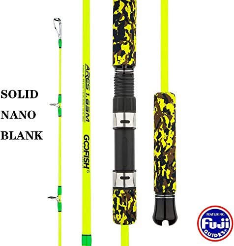 GOOFISH Solid Nano Tech Blank Vertical Deep Sea Speed Jigging Rod 165cm Size PE 5 25-65lbs Jig 150-400g Saltwater Jig Fishing Pole with Fuji Setting Dead Lift Power 20kg