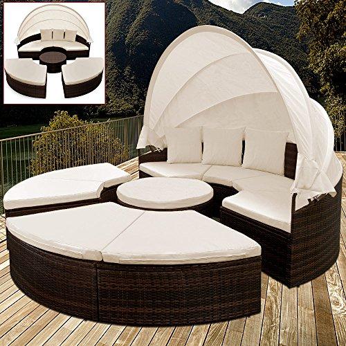 PolyRattan Sonneninsel Ø 185cm Sonnenliege Gartenliege Gartenmöbel Lounge Rattan