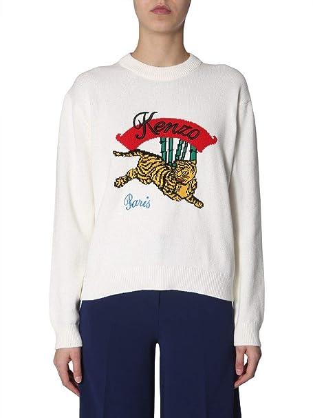 8523e9059 Kenzo Women's F952TO5373XC01 White Cotton Sweater: Amazon.co.uk: Clothing