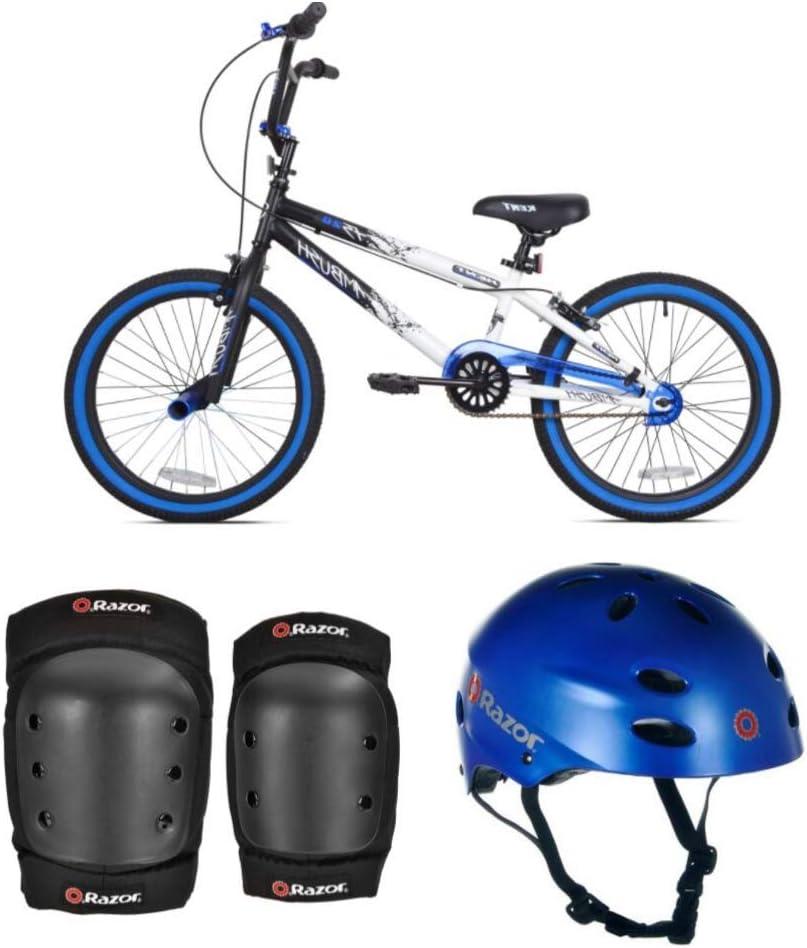 *KENT Bundle – 20 Boys , Ambush BMX Bike, Blue with Multi-Sport Helmet and Protective Pad Set, Black, Ages 8-14