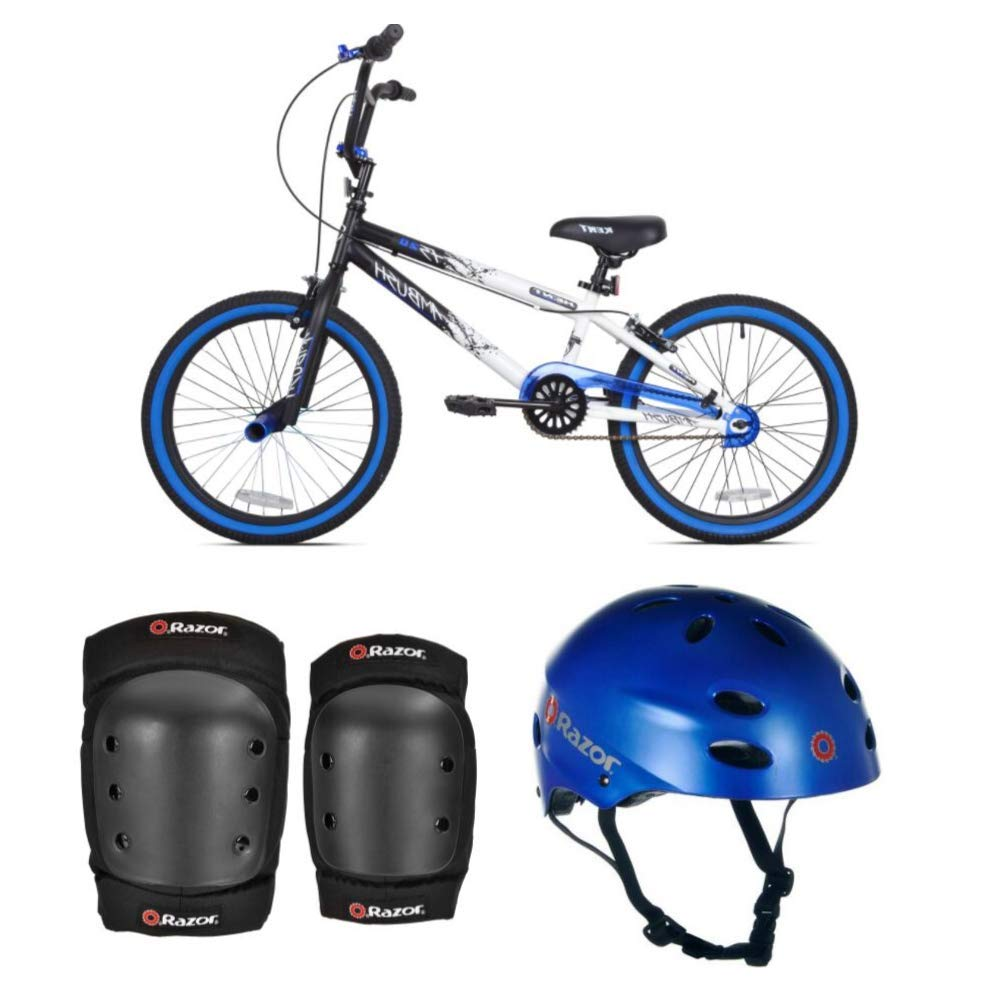 *KENT Bundle - 20'' Boys', Ambush BMX Bike, Blue with Multi-Sport Helmet and Protective Pad Set, Black, Ages 8-14 by *KENT