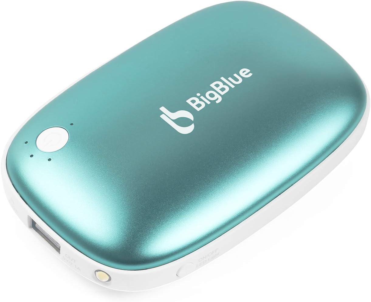Calienta Manos Reutilizables Grandes Regalos para Exterior Calientamanos Recargables 5200mAh USB Banco de Energ/ía Calentadores Mano El/éctricos Calentador Bolsillo Calefactor de Manos Azul
