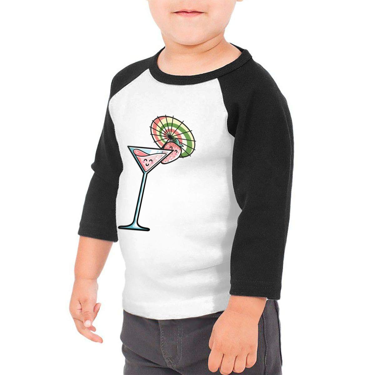yimo Strawberry Cocktail Unisex Toddler Baseball Jersey Contrast 3//4 Sleeves Tee