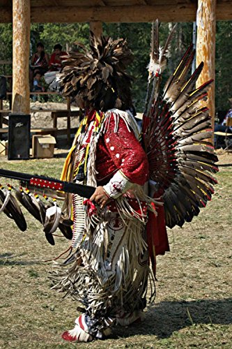 [LAMINATED 24x36 Poster: Indian Powwow Dance Feather Rifle Music Costume People Canada British Columbia] (British Columbia Costumes)