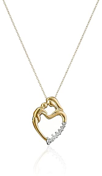 Amazon 10k yellow gold mothers jewel heart shaped diamond 10k yellow gold mothers jewel heart shaped diamond pendant necklace 12cttw i j aloadofball Gallery