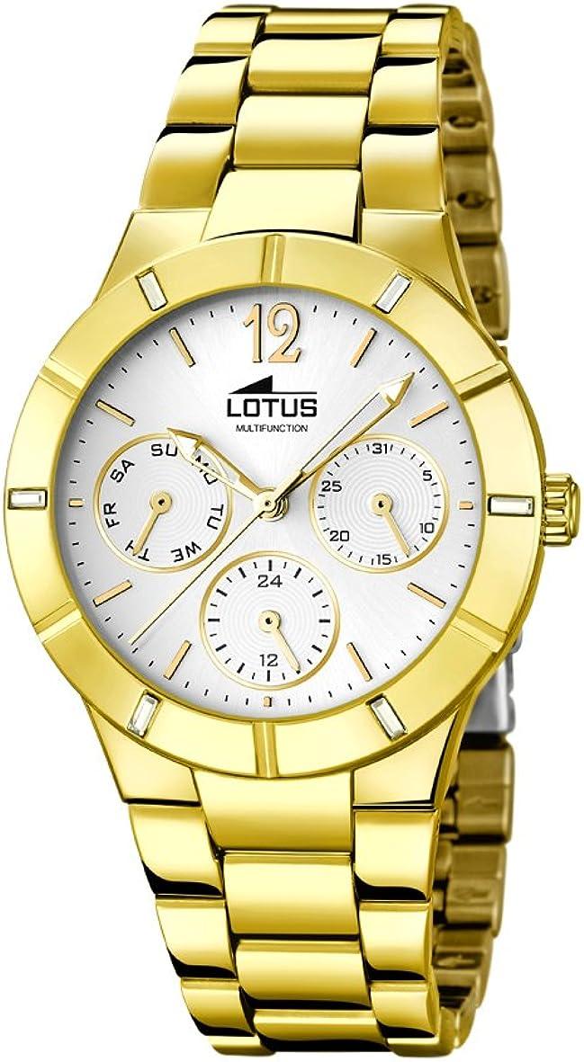 Lotus 0 - Reloj de Cuarzo para Mujer, con Correa de Acero Inoxidable Chapado, Color Dorado: Amazon.es: Relojes