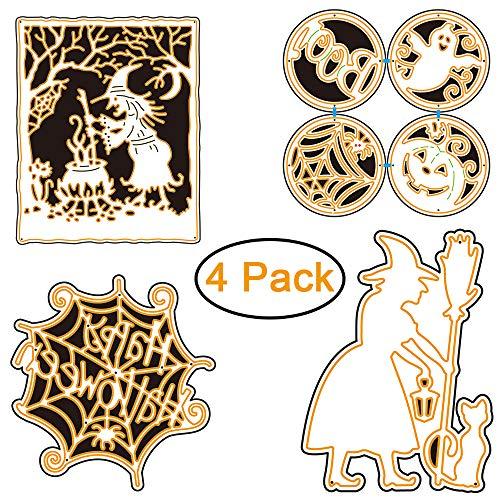 4 Set DIY Metal Cutting Dies 3D Halloween Ghost Pumpkin Witch Paper Cutting Dies Spider Web Stencil Template Mould for Wizard Cutting Templates Cobweb Scrapbook Album Paper Card -