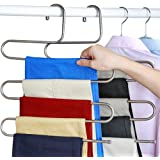 everso Pants Hangers S-type 5 layers Stainless Steel Trousers Rack Space Saving (4 packs)