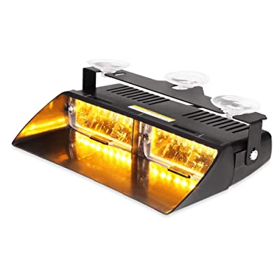 WOWTOU Amber Dash Deck Light 16W LED with 18 Flash Patterns for Tow Truck,Utility Vehicle,Constuction Vehicle, SPV etc.: Automotive