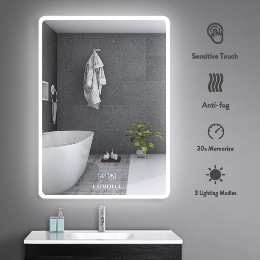 LUVODI LED Lighted Bathroom Mirror Wall Mounted 20 x 28 inch, Touch Switch Anti-Fog Function Vanity Makeup Mirror, Energy-Efficient Illumination Warm/White/Gradient by LUVODI