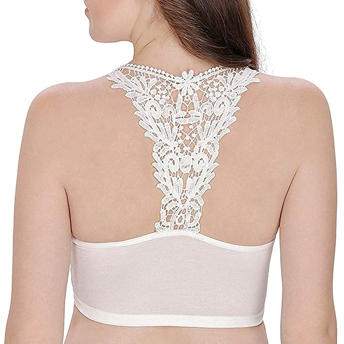 35a376a170873a D claire Women s Net Front and Lace Back Multipurpose Stretchable Bra Cum Crop  Top Blouse Tank Top (White