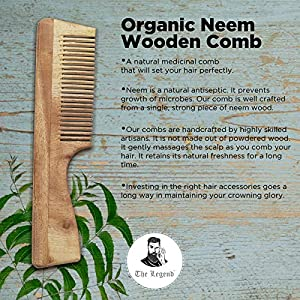 The Legend Organic Pure Neem Wood Comb With Handle, Brown