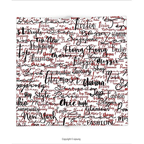Custom printed Throw Blanket with Modern Decor Ink Handwritten Popular Country Capitals with Fashion Fancy Words Art Red Black and White Super soft and Cozy Fleece Blanket