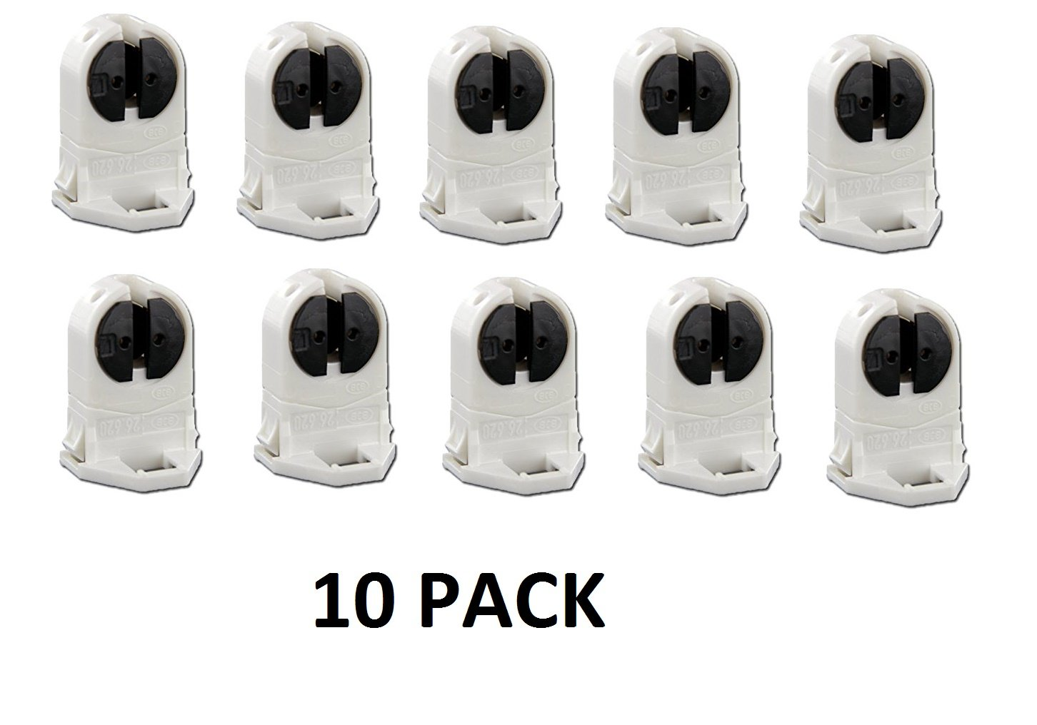 10 PACK - UL LISTED LH0842 BJB 26.620.2006.50 TALL UNSHUNTED T5 MINIATURE BIPIN ROTARY LOCKING LAMP HOLDER