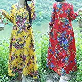 AMSKY Dress Pants for Men,Plus Size Womens Cotton and Linen Loose Long Sleeve Flower Print Long Dress,Work Dresses,Red,XL