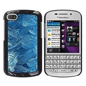 FECELL CITY // Duro Aluminio Pegatina PC Caso decorativo Funda Carcasa de Protección para BlackBerry Q10 // Flowers Pattern Texture Cold Winter Glass
