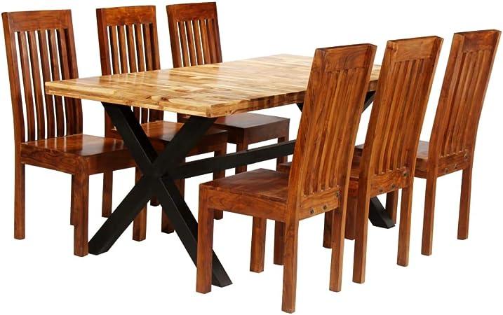 Honglianghongshang Set Di Mobili Set Di Mobili Per Cucina E Sala Da Pranzo Set Tavolo Da Pranzo 7 Pz Legno Massello Di Acacia E Mango Amazon It Casa E Cucina