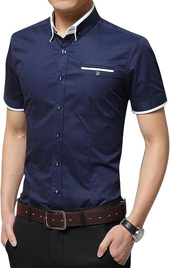 Hombre Manga Corta Slim Fit Elástica Casual Formal Camisa con Bolsillo Frontal: Amazon.es: Ropa y accesorios