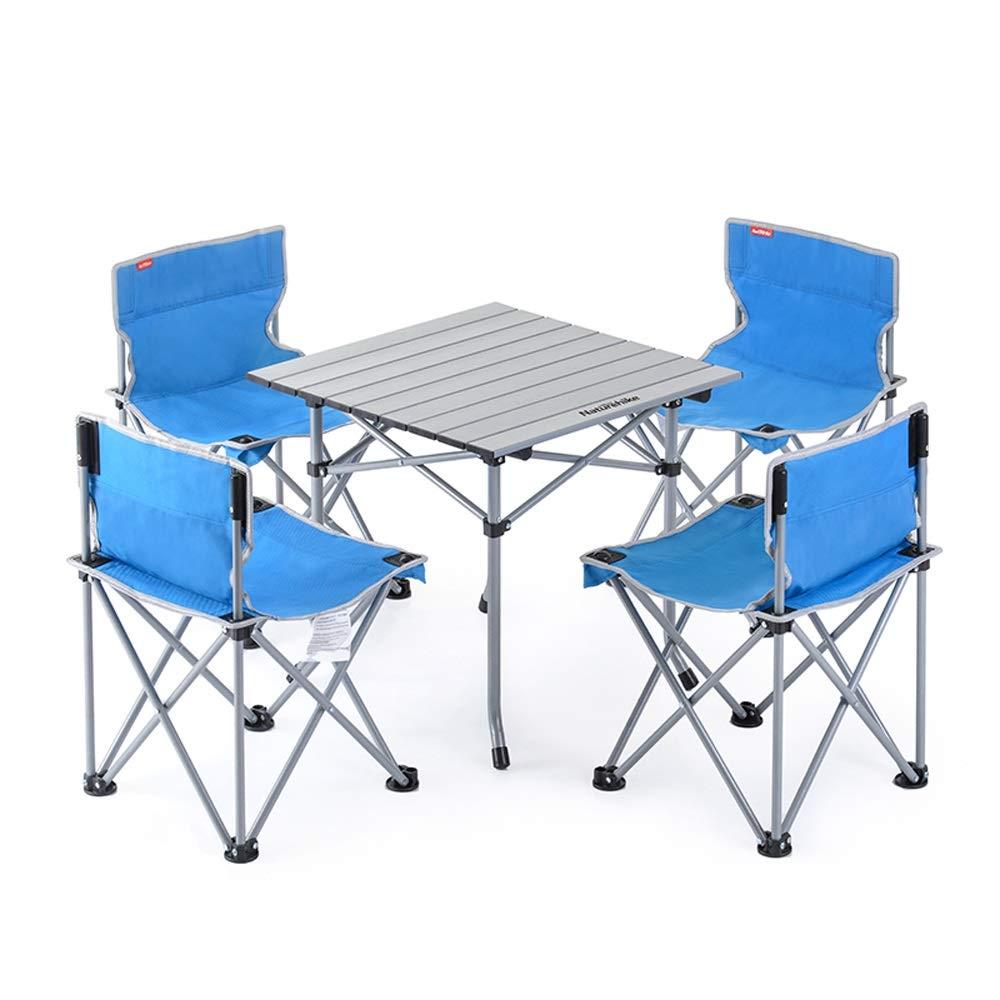 FH Tragbarer Klapptisch Und Stuhl Im Freien, Kombinationsset Dreiteiliges Fünfteiliges Picknick-Grill-Camping-Set, Blau Orange Optional
