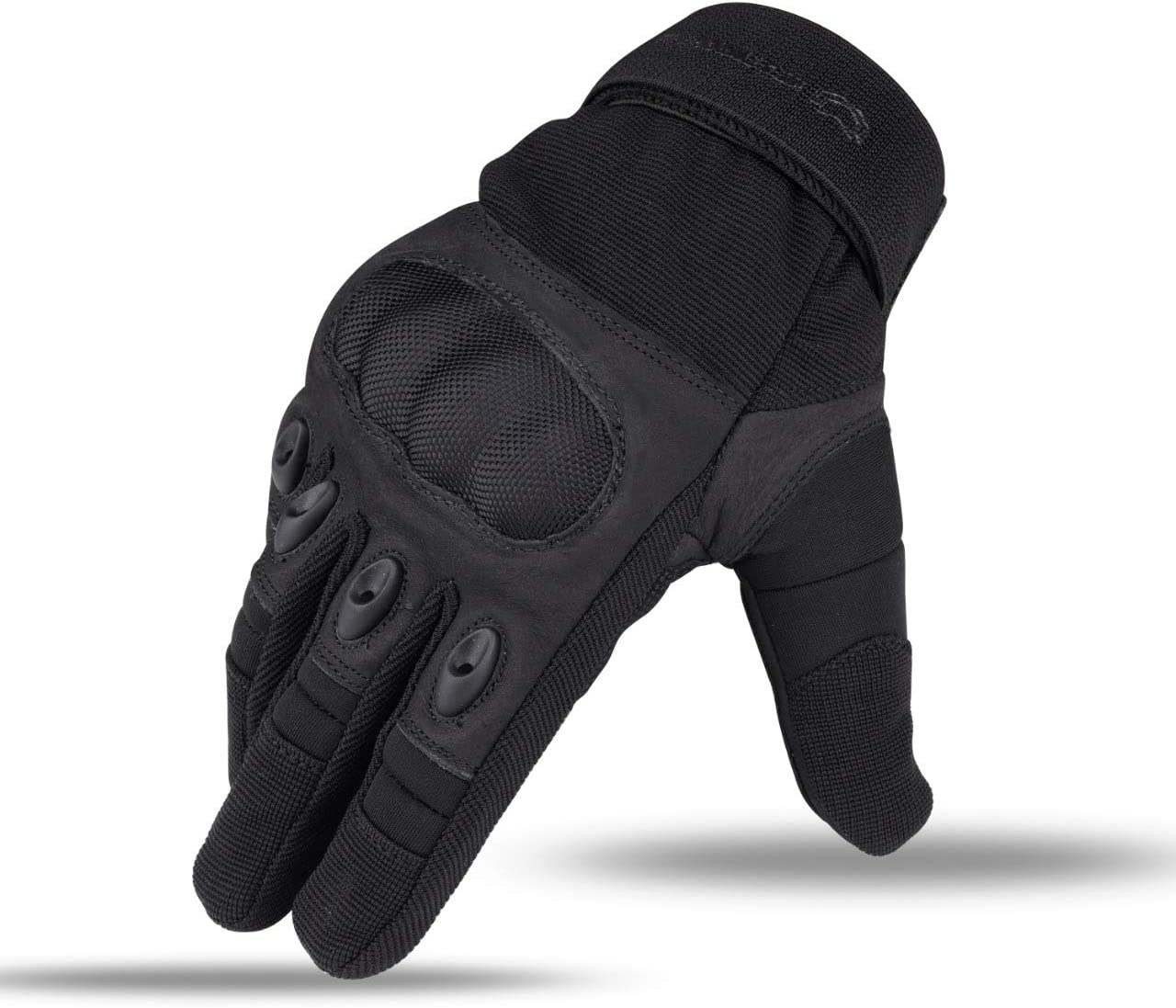 WFX Leather Motorcycle Gloves Hard Knuckle Outdoor Motorbike Street Riding Hiking Camping Touch Screen Full Finger Gloves Large, Black