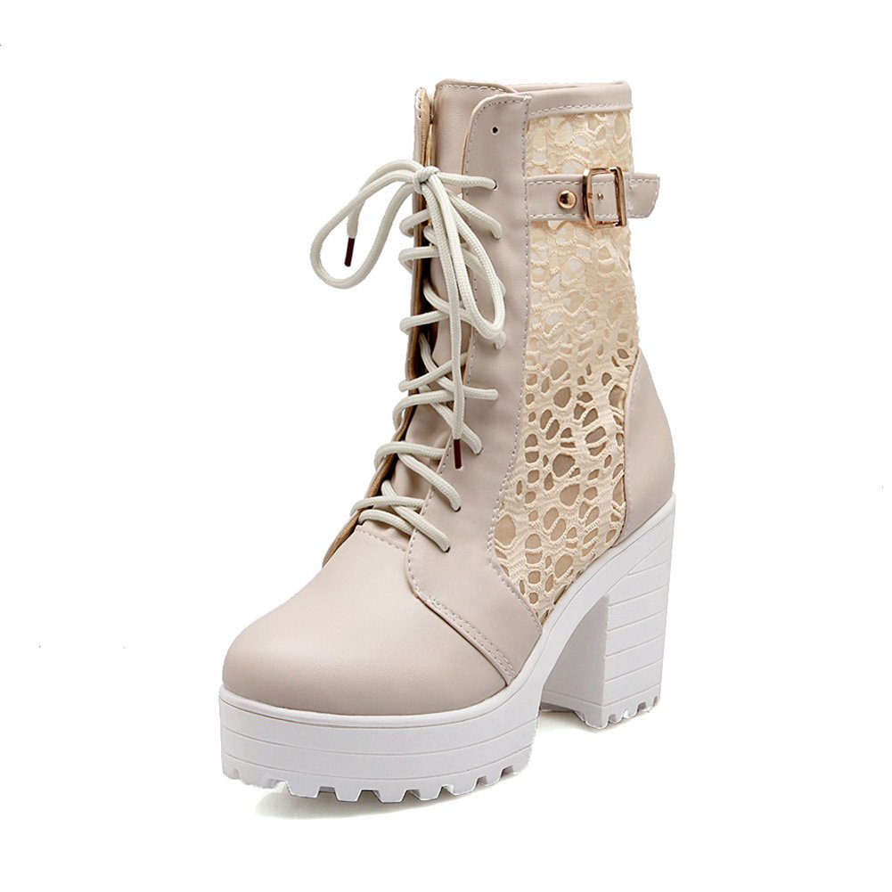 83d719a268b20 Lucksender Womens Lace Up Platform Hollow Out Combat Chunky Heel ...