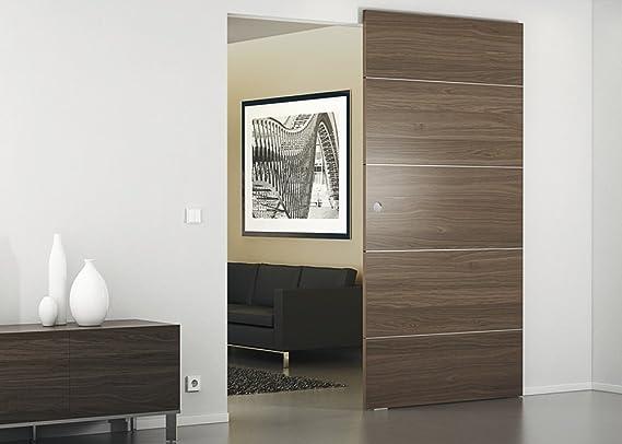 Herraje para sets Let de Juego con oculta pared de montaje para madera de puertas correderas – Slido Diseño 80 Carril M | unidad de plata anodizado | Longitud 1100 mm |