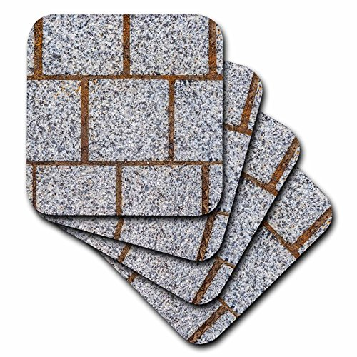 (3dRose Alexis Photography - Texture Stone - Image of three rows of polished granite stone blocks of grey color - set of 4 Ceramic Tile Coasters (cst_285821_3))