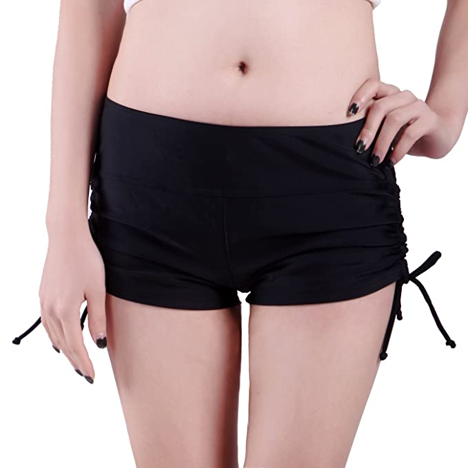 1df9278bd94 HDE Women's Mini Swim Shorts Adjustable Ties Swimsuit Bikini Bottoms Boy  Shorts