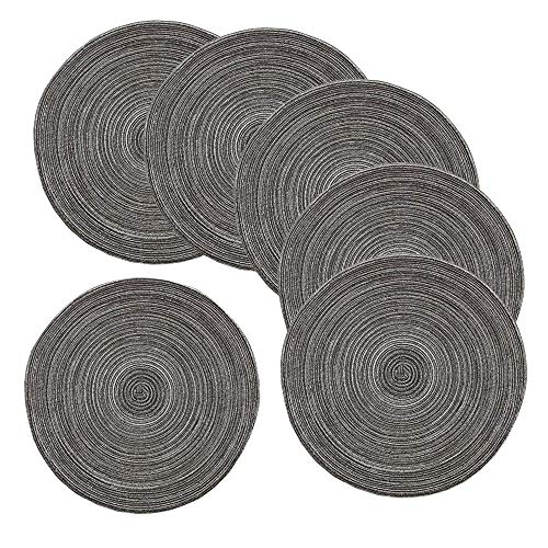 Amidaky Round Woven Placemats Thermal Insulation Dining Table Round Cotton Placemats Set of 6 Gray 14 inches Washable