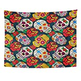 TOMPOP Tapestry Sugar Skulls and Roses Dead Day Dia De Los Home Decor Wall Hanging for Living Room Bedroom Dorm 60x80 Inches