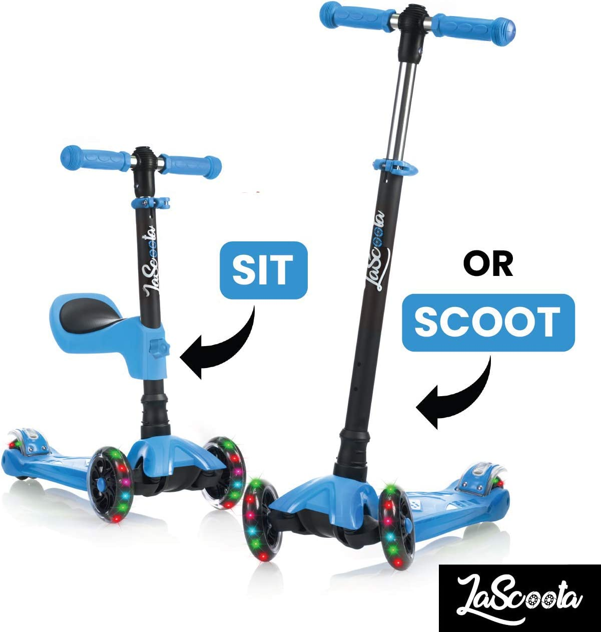Lascoota 2-in-1 Kick Scooter with Removable Seat Great for Kids Toddlers Girls or Boys Adjustable Height w Extra-Wide Deck PU Flashing Wheels for Children from 2-14 Years Old