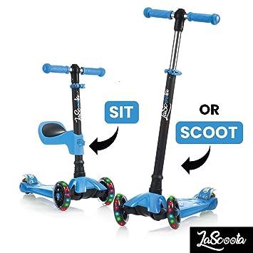 Amazon.com: Lascoota Scooter de patear 2 en 1 con asiento ...