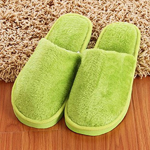 Slippers Plush green Long Female Shoes Cotton Women Woopower Winter Slippers Home Men Indoor wFvOUBUnq