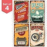 vintage automotive signs - Throwback Traits Retro Poster Signs for Garage. Funny Vintage Signs for Auto Repair Service Shop or a Car Wash Garage. Great as Birthday Gifts for Men or College Posters. Set of Four 11x17 inches
