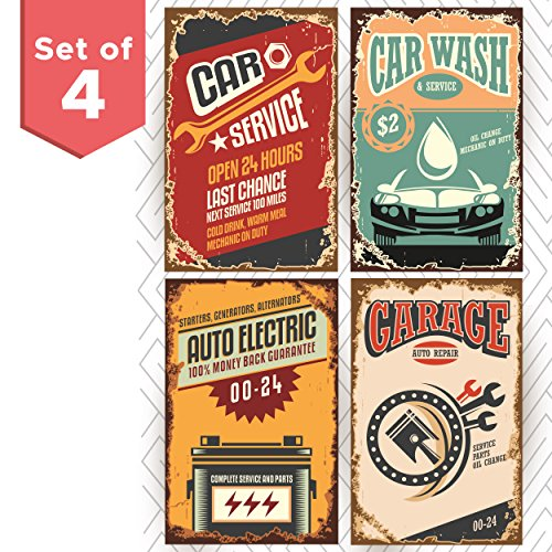 Repair Service Tin Sign (Retro Poster Signs for Garage Set of Four 11x17. Funny Vintage Signs for Auto Repair Service Shop or a Car Wash Garage. Great as Birthday Gifts for Men or College Posters)