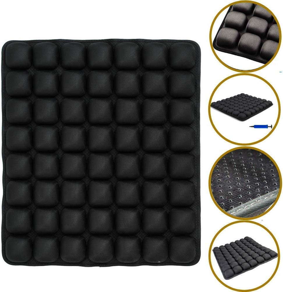 SUNFICON Air Seat Cushion Inflatable Comfort Cushion Portable Car Seat Office Chair Wheelchair Pad Anti Bedsore Orthopedics Pain Pressure Relief Cushion Camping Seat Mat w Pump 18''x16'' Black by SUNFICON