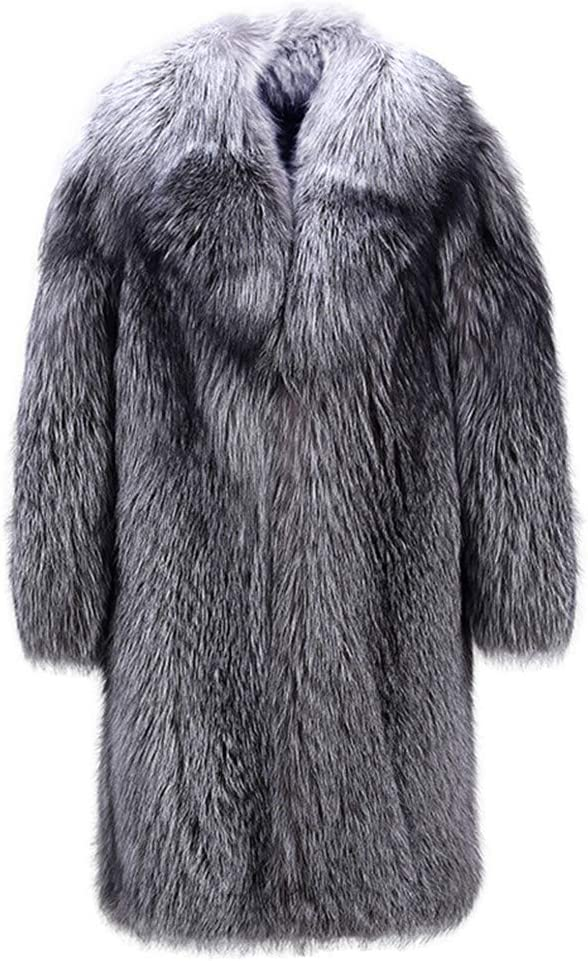 Men Faux Fur Teddy Coat Lapel Winter Warm Fur Jacket Maxi Full Sleeve Long Overcoat Parka Outerwear,Silver,3XL