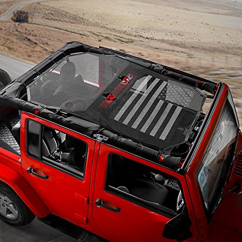 Savadicar Jeep Wrangler US Flag Durable Polyester Mesh Shade Top Cover Provides UV Sun Protection for Your 4-Door JK or JKU (2007-2017) Original Black And White