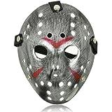 Ultra X de disfraces Jason vS Freddy Halloween máscaras de Hockey viernes 13 en un plata colores adulto calidad máscara de PVC con velcro elástico correa cara máscara de lujo Halloween Costumeplay por Ultra (1 máscara) (color plata)