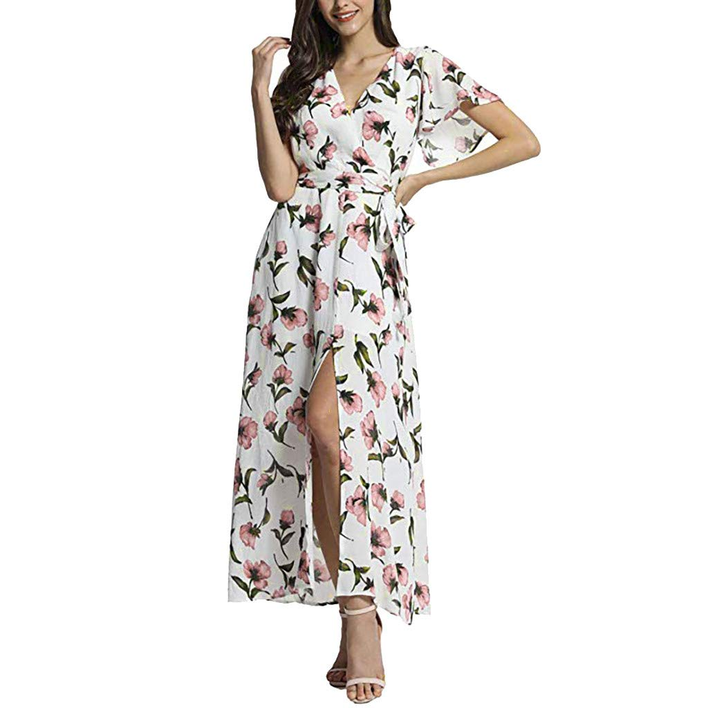 Gibobby Sexy Maxi Dress for Women V Neck Floral Short Sleeve Floral Flowy Slit High Summer Party Wedding Dresses White