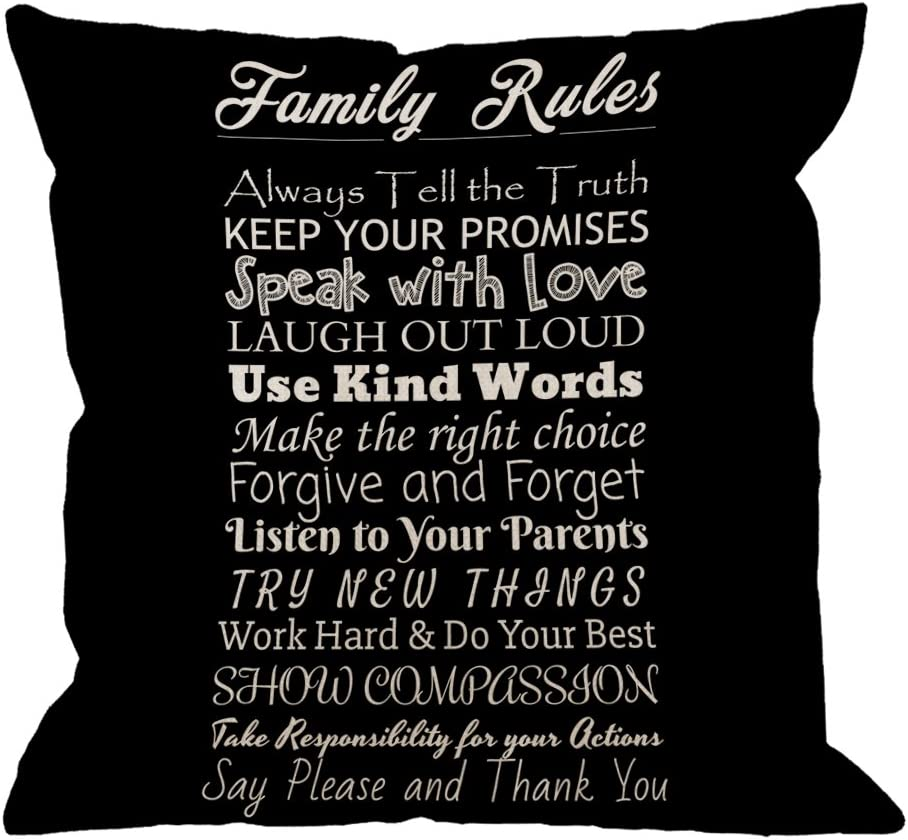 HGOD DESIGNS Family Rules Decorative Throw Pillow Cover Case,Quotes Cotton Linen Outdoor Pillow Cases Square Standard Cushion Covers for Sofa Couch Bed Car 18x18 inch Black