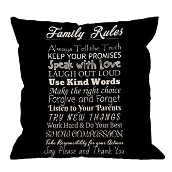 Amazoncom Hgod Designs Family Rules Decorative Throw Pillow Cover