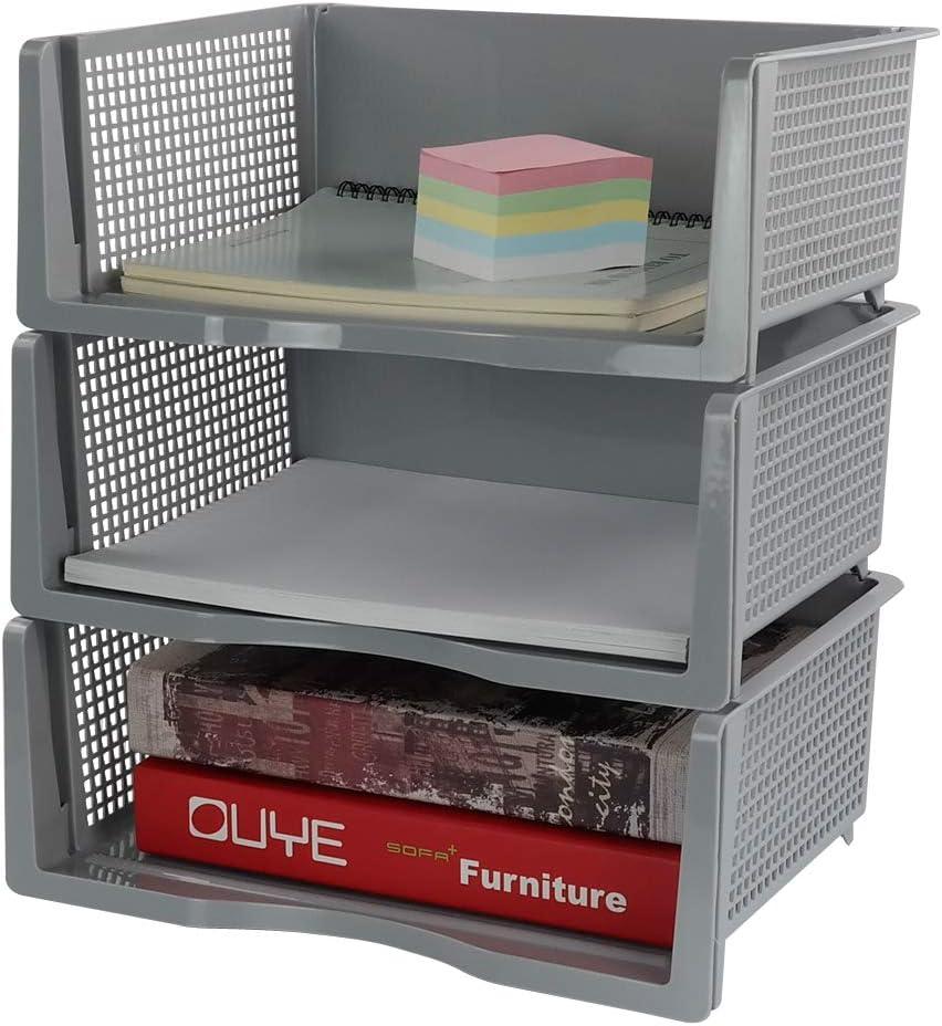 Anbers オフィス レタートレイオーガナイザー プラスチック 積み重ね可能 ファイルペーパーストレージ 3段 (グレー)
