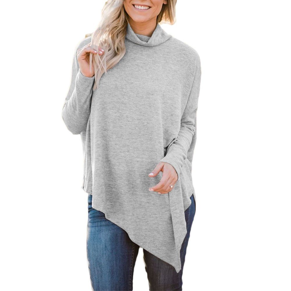 Lrud Women's Casual Turtleneck Poncho Capes Pullover Sweater with Sleeves Knitted Tops(S-2XL) Gray XXL