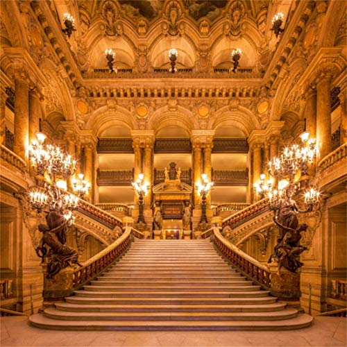 (Yeele 10x10ft Vinyl Photography Background Paris Grand Opera Candlestick Luxurious Front Staircase Wall Lamp Photo Backdrops Pictures Studio Props)
