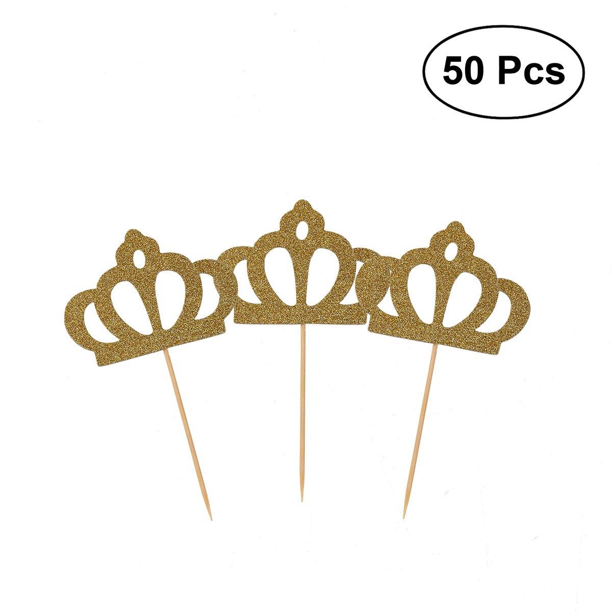 ounona 50 unidades Cupcake Toppers dorado con purpurina ...
