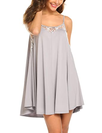 4b32a986b9d9 Ekouaer Sexy Lingerie Sleeveless lace Nightgown Adjustable O Neck ...