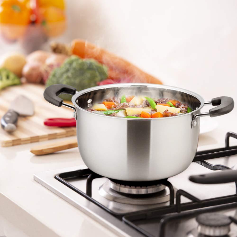TeamFar - Olla de acero inoxidable para sopa con tapa de ...