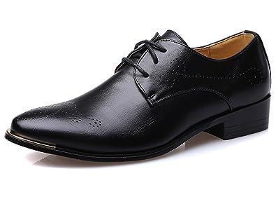 5d0a3bdd7af Santimon Men s Dress Shoes Classic Modern Comfort Lace Brogue Casual Oxfords  Black 5 D(M