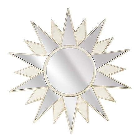 Review Crystal Art Framed Art Deco Sunburst Starburst Vanity Wall Mirror, Cream